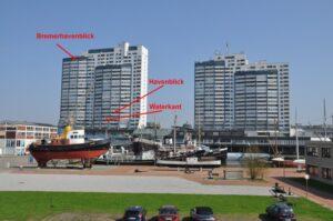 Blick vom Deich auf die Monteurzimmer in Bremerhaven
